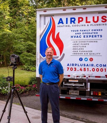 AirPlus founder Joe Allen smiles while doing a video promoting his Northern VA heating & cooling. company