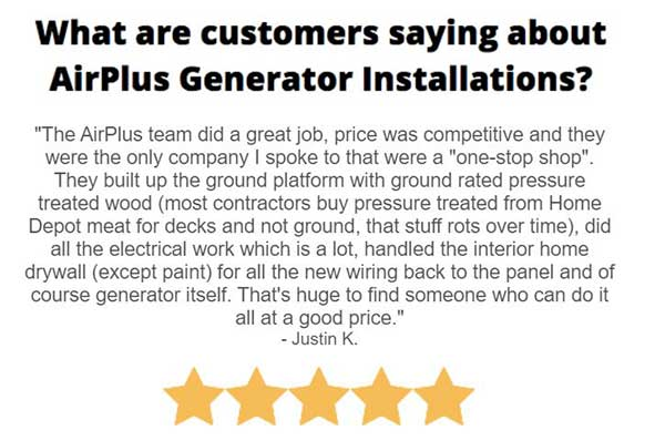 5 Star Google Review of AirPlus Home Generator Installation